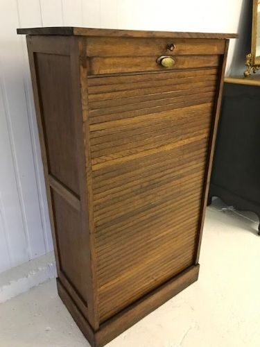 Vintage Antique French Filing Cabinet / Tambour - k987